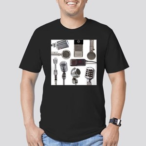 Retro Microphone Collage Men's Fitted T-Shirt (dar