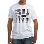 Retro Microphone Collage Fitted T-Shirt