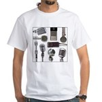 Retro Microphone Collage White T-Shirt