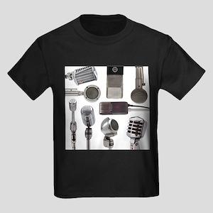 Retro Microphone Collage Kids Dark T-Shirt