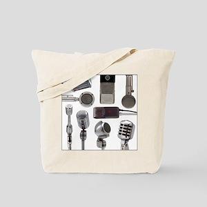 Retro Microphone Collage Tote Bag