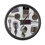 Retro Microphone Collage Large Wall Clock