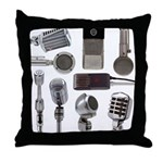 Retro Microphone Collage Throw Pillow