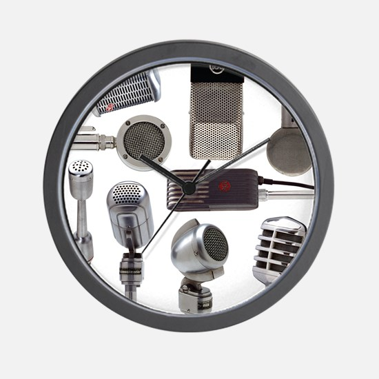 Retro Microphone Collage Wall Clock