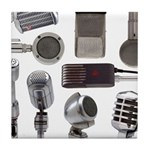 Retro Microphone Collage Tile Coaster