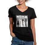 4 Microphones with Sing Women's V-Neck Dark T-Shir