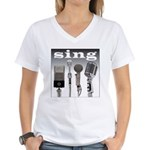 4 Microphones with Sing Women's V-Neck T-Shirt