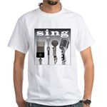 4 Microphones with Sing White T-Shirt