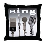 4 Microphones with Sing Throw Pillow