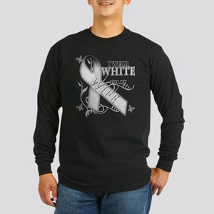 I Wear White for my Wife Long Sleeve Dark T-Shirt