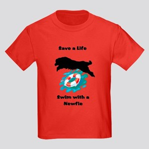 Swim With A Newfie! Kids Dark T-Shirt