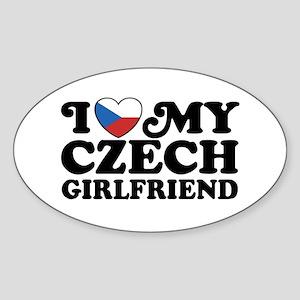 I Love My Czech Girlfriend Oval Sticker