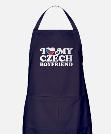 I Love My Czech Boyfriend Apron (dark)