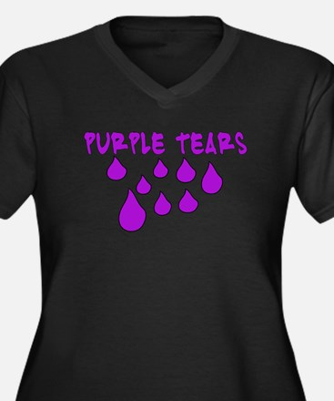 PURPLE TEARS Women's Plus Size V-Neck Dark T-Shirt