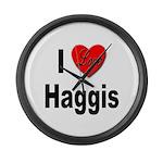 I Love Haggis Large Wall Clock