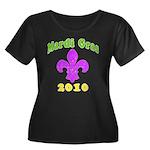 Mardi Gras Women's Plus Size Scoop Neck Dark T-Shi