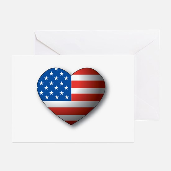 Heart Flag Greeting Cards (Pk of 10)