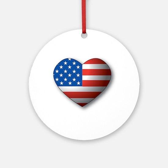 Heart Flag Ornament (Round)