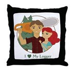 Love My Logger - Redhead Throw Pillow