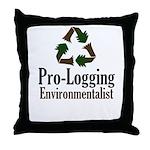 Pro-Logging Environmentalist Throw Pillow