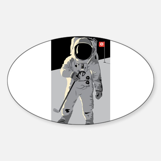 Moon Golfer Oval Decal
