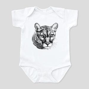 Panther Portrait Grayscale Infant Bodysuit