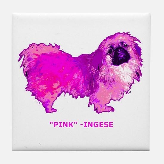 "Pekingese in "" Hot Pink"" Tile Coaster"