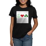 Signs of Peace Love Luck Women's Dark T-Shirt