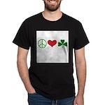 Signs of Peace Love Luck Dark T-Shirt