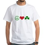 Signs of Peace Love Luck White T-Shirt