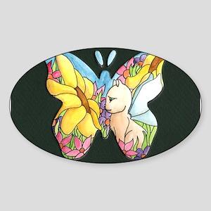 Butterfly Window Oval Sticker