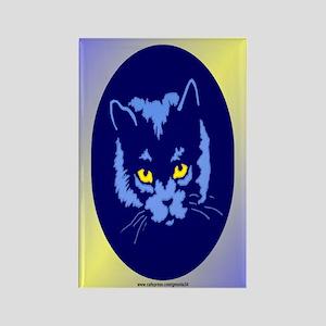 Blue Cat Rectangle Magnet