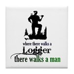 Where There Walks a Logger Tile Coaster