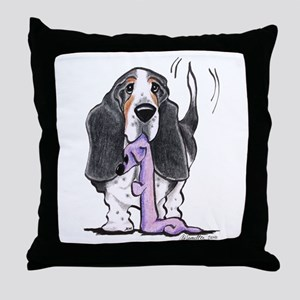 Tricolor Basset Playtime Throw Pillow