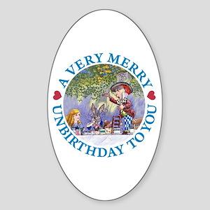 A VERY MERRY UNBIRTHDAY Sticker (Oval)