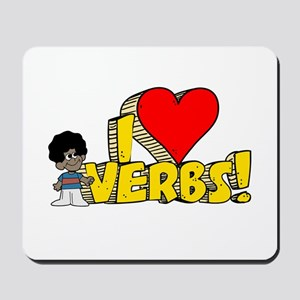 I Heart Verbs - Schoolhouse R Mousepad