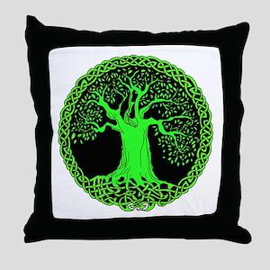 Green Wisdom Tree Throw Pillow