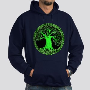 Green Celtic Wisdom Tree Hoodie (dark)
