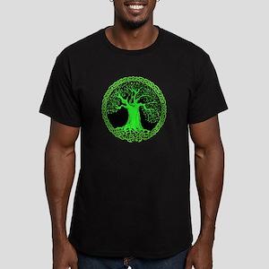 Green Wisdom Tree Men's Fitted T-Shirt (dark)