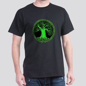 Green Celtic Wisdom Tree Dark T-Shirt