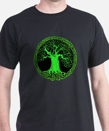 Green Celtic Wisdom Tree T-Shirt