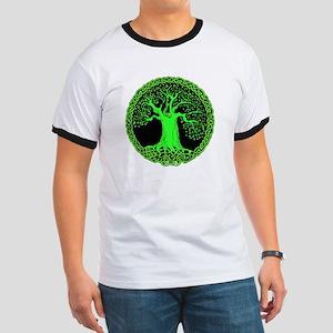 Green Celtic Wisdom Tree Ringer T