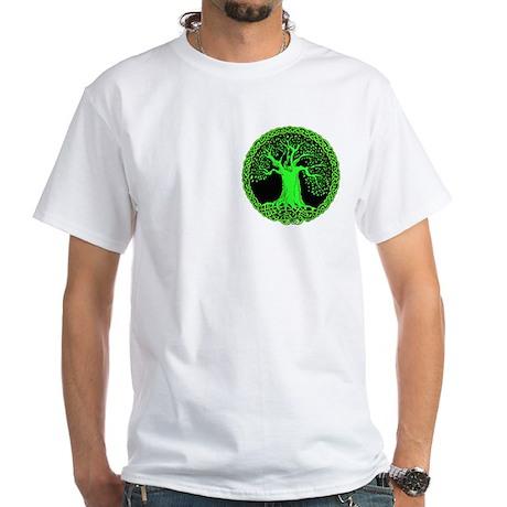 Green Celtic Wisdom Tree White T-Shirt (pocket)