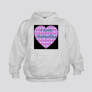 I Love Butterflies Pretty in Kids Hoodie