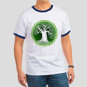Green2 Celtic Tree Ringer T
