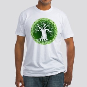 Green2 Celtic Tree Fitted T-Shirt