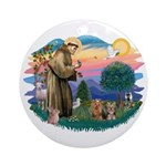 St Francis / 2 Yorkshire Terriers Ornament (Round)