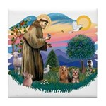 St Francis / 2 Yorkshire Terriers Tile Coaster