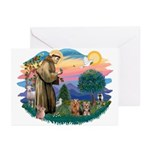 St Francis / 2 Yorkshire Terriers Greeting Cards (