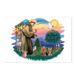 St Francis / 2 Yorkshire Terriers Postcards (Packa